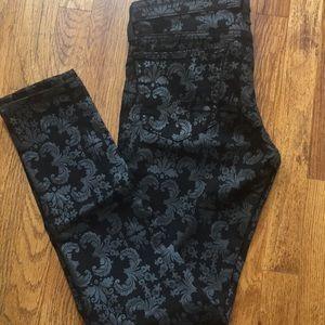 AG Super Skinny Damask Print Black Jeans Sz 30